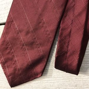 Men's DKNY Red Silver Stripe 100% Silk Tie